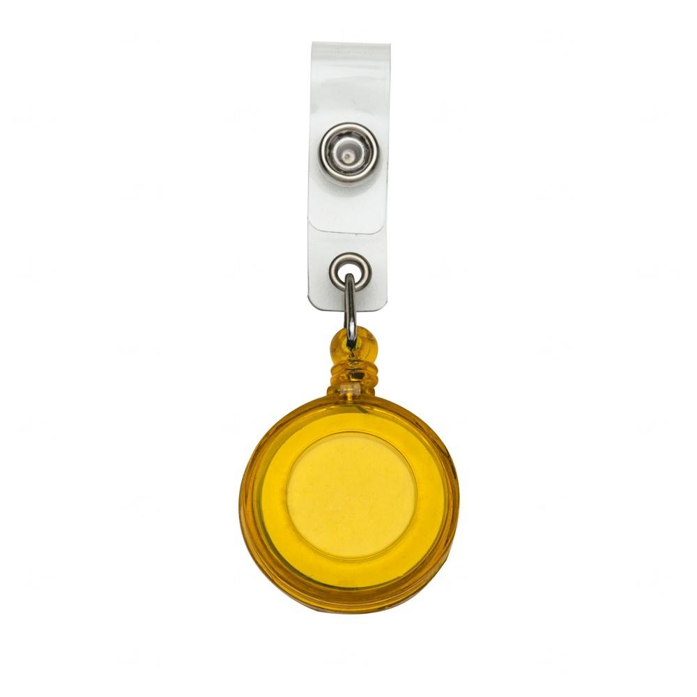 Porta Crachá Retrátil Personalizado Amarelo