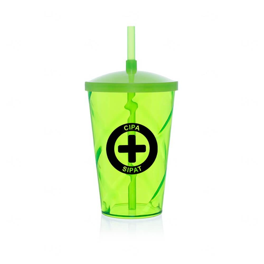 Copo Personalizado com Canudo e Tampa - 700 ml Verde Claro