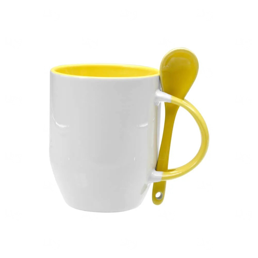 Caneca Personalizada de Cerâmica Com Colher - 325 ml Amarelo