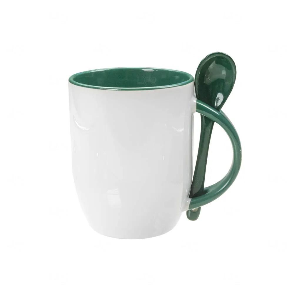 Caneca Personalizada de Cerâmica Com Colher - 325 ml Verde