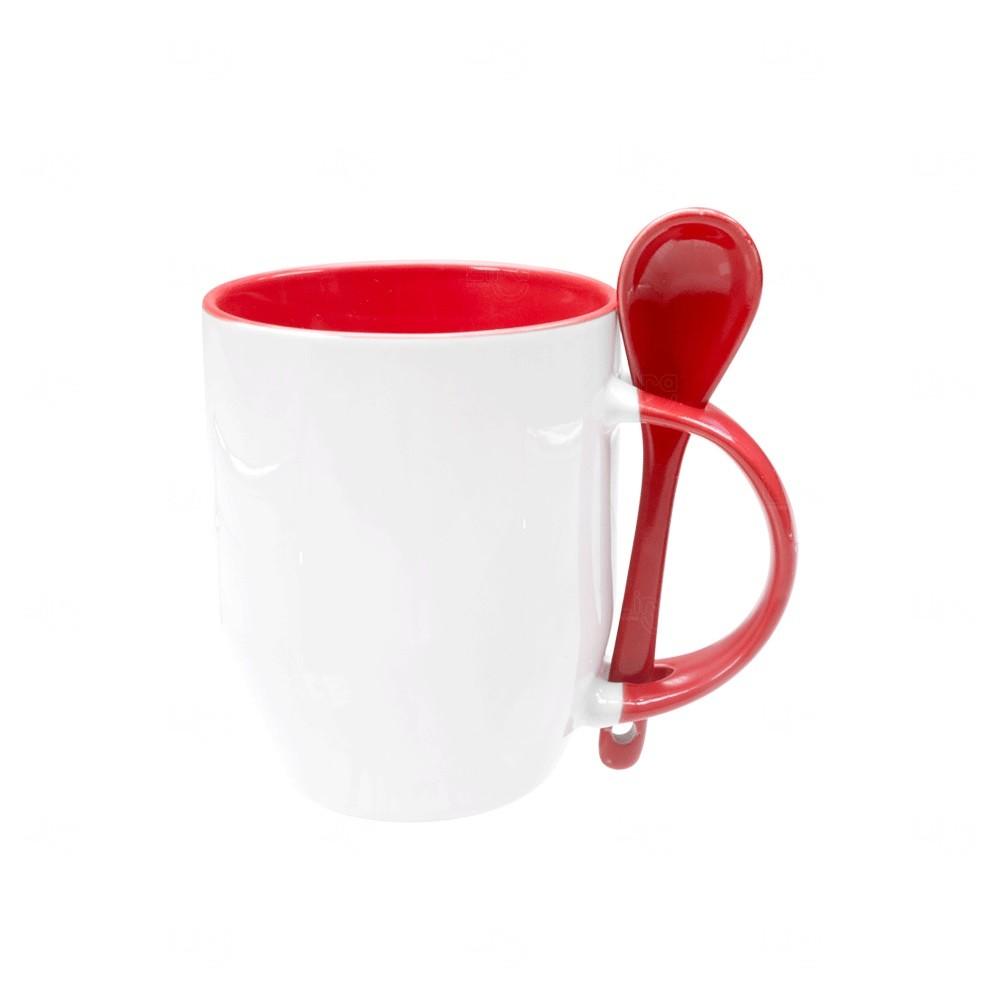 Caneca Personalizada de Cerâmica Com Colher - 325 ml Vermelho