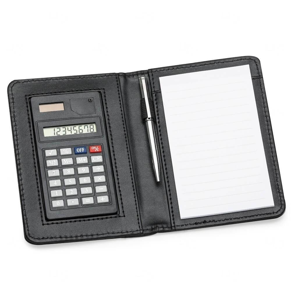 Bloco De Anotações Com Calculadora E Caneta Personalizado Preto