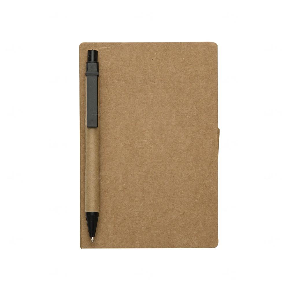 Bloco De Anotações Post-It e Caneta Personalizado - 15,5 x 10 cm Preto