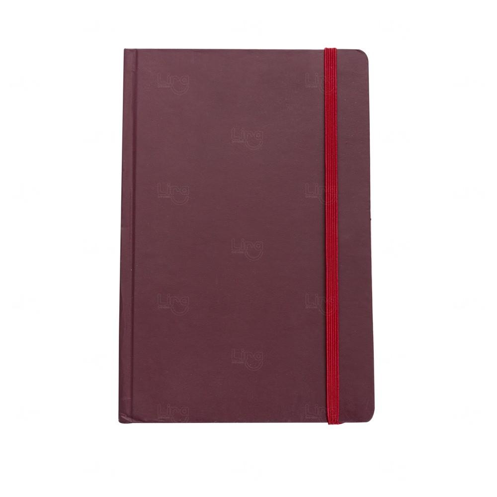 Caderno Tipo Moleskine Couro Sintético Vermelho