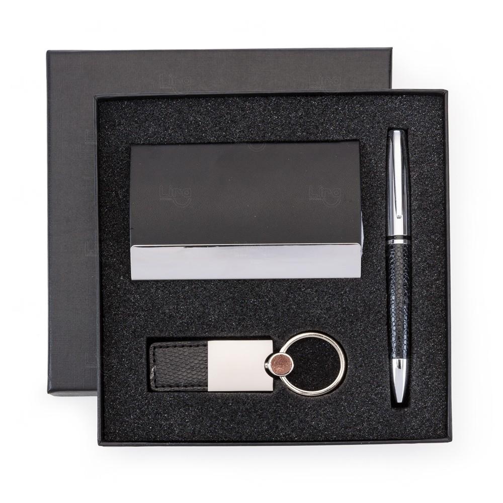 Kit Executivo Com Caneta, Chaveiro e Porta Cartão Personalizado Preto