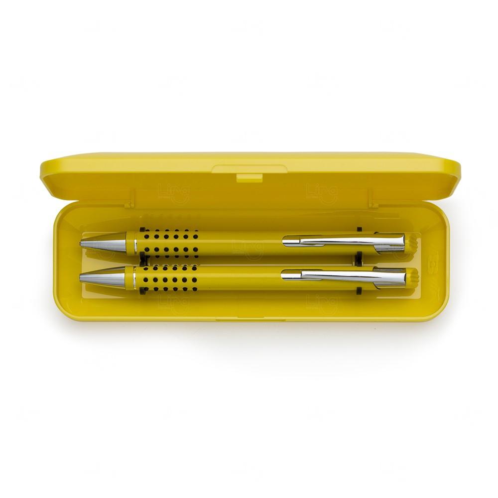 Kit Estojo C/ Caneta e  Lapiseira Semi-Metal Personalizado Amarelo
