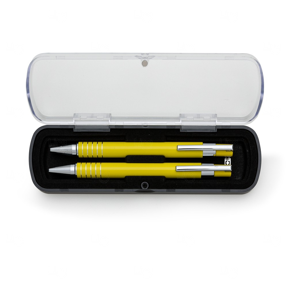Kit Estojo Acrilico C/ Caneta e Lapiseira Personalizado Amarelo