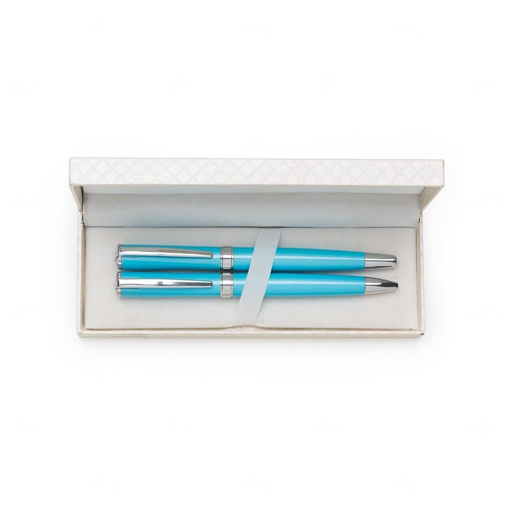 Kit Caneta Com Estojo De Couro Personalizado Azul