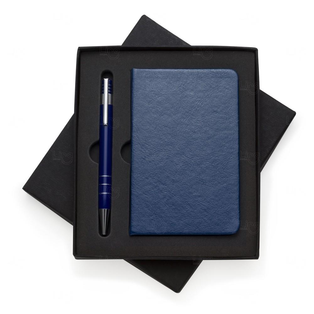 Bloco De Anotações Couro Sintético Com Caixinha Personalizado Azul