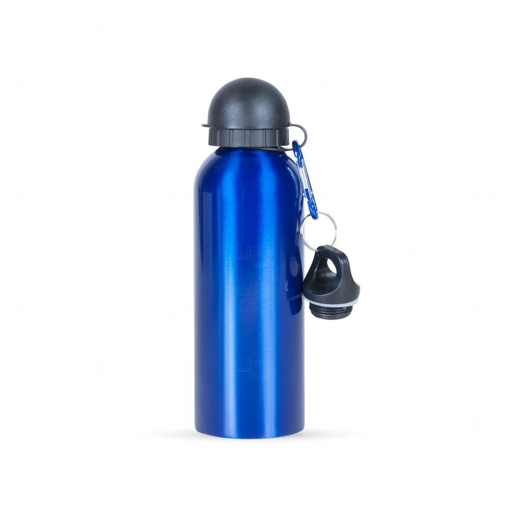 Squeeze Alumínio C/ Bico e Mosquetão Personalizado - 500 ml Azul