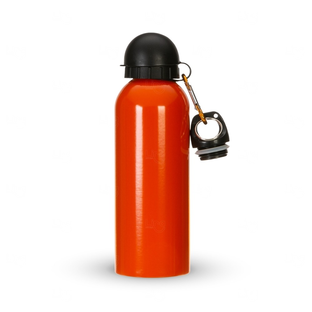 Squeeze Alumínio C/ Bico e Mosquetão Personalizado - 500 ml Laranja