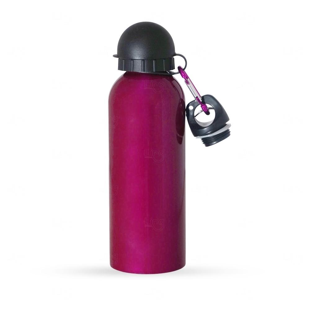 Squeeze Alumínio C/ Bico e Mosquetão Personalizado - 500 ml Rosa
