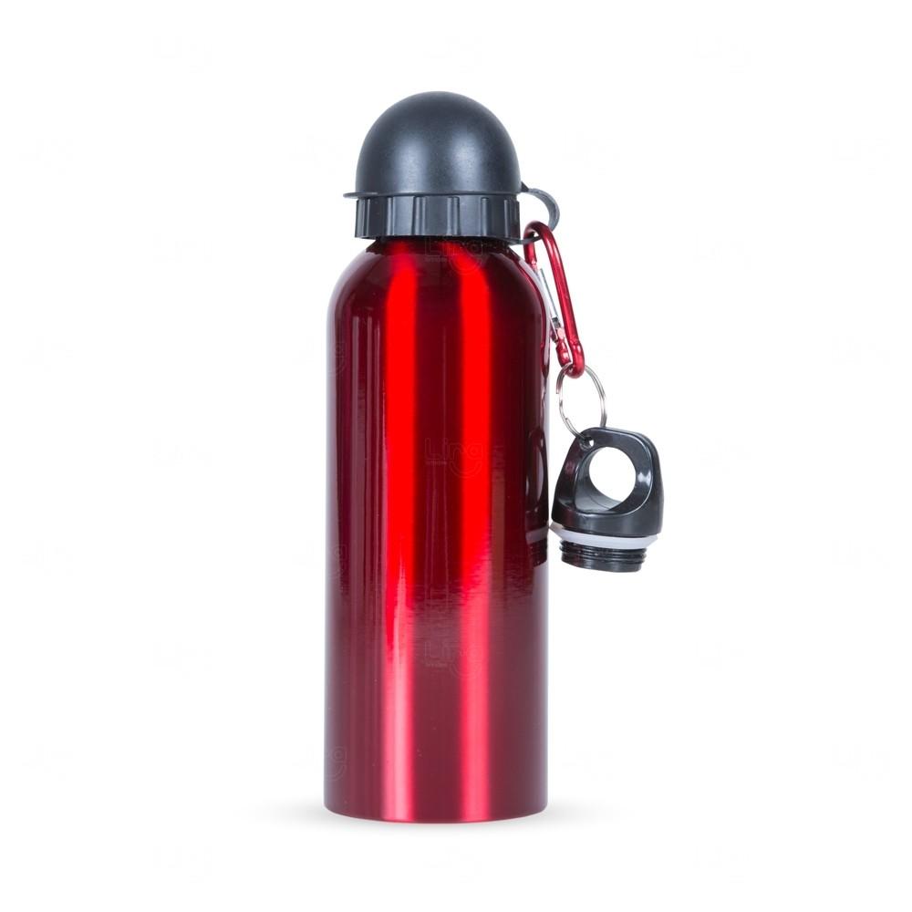 Squeeze Alumínio C/ Bico e Mosquetão Personalizado - 500 ml Vermelho