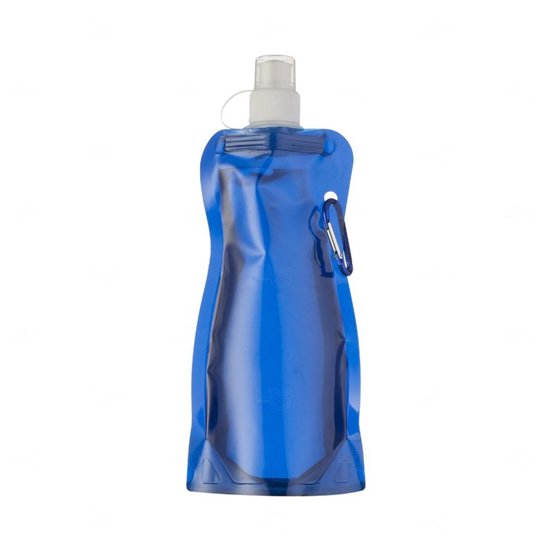Squeeze Dobravel Mosquetão Personalizada 480ml Azul