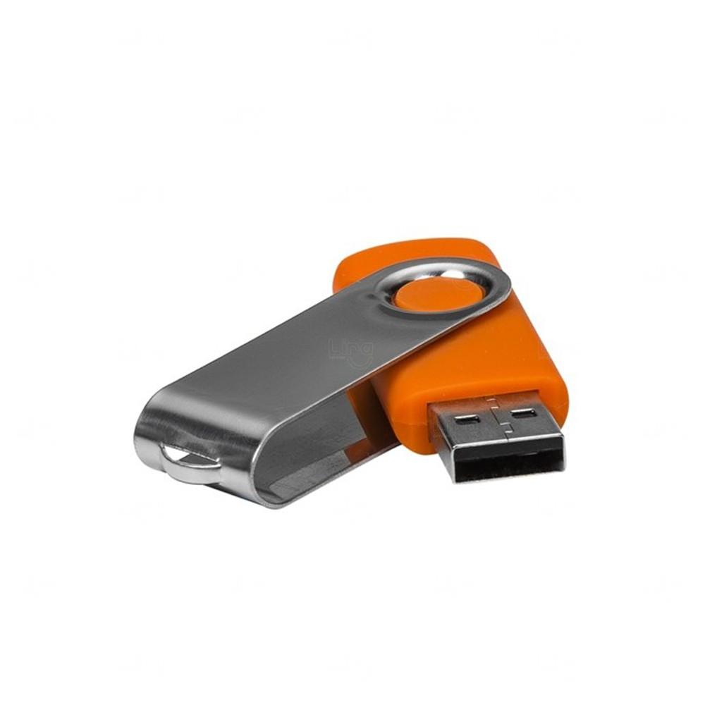 Pen Drive Com Tampa Giratória Personalizado - 4 GB Laranja