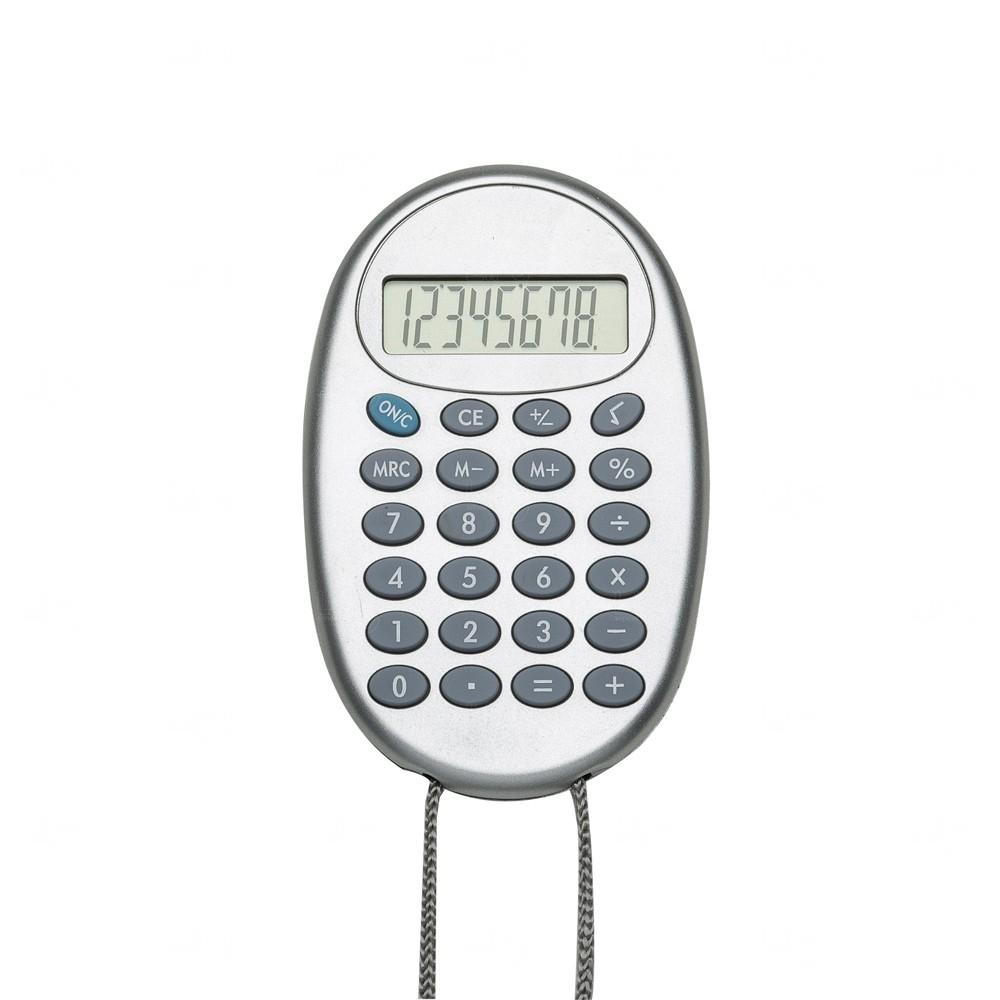 Calculadora Oval Personalizada com Cordão Cinza