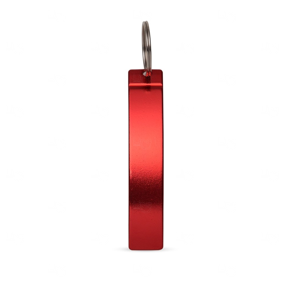 Abridor de Metal c/ Chaveiro Personalizado Vermelho