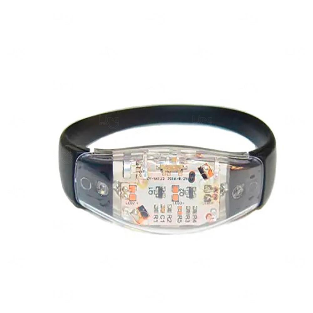 Pulseira Musical LED Personalizada Preto
