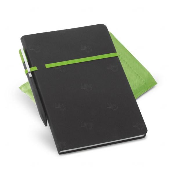 Conjunto Caderno e Caneta Personalizado Verde