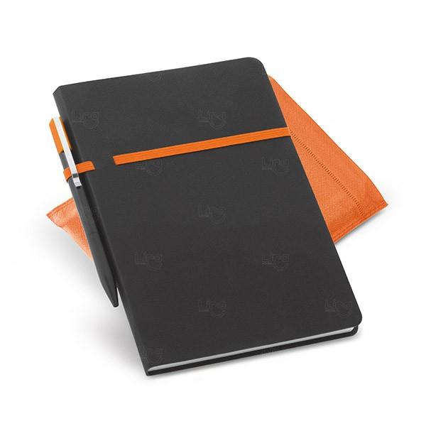 Conjunto Caderno e Caneta Personalizado Laranja