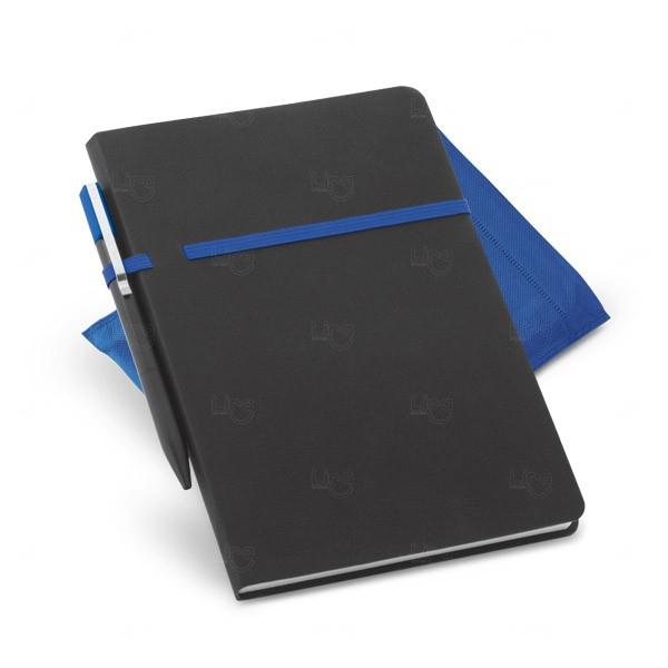 Conjunto Caderno e Caneta Personalizado Azul