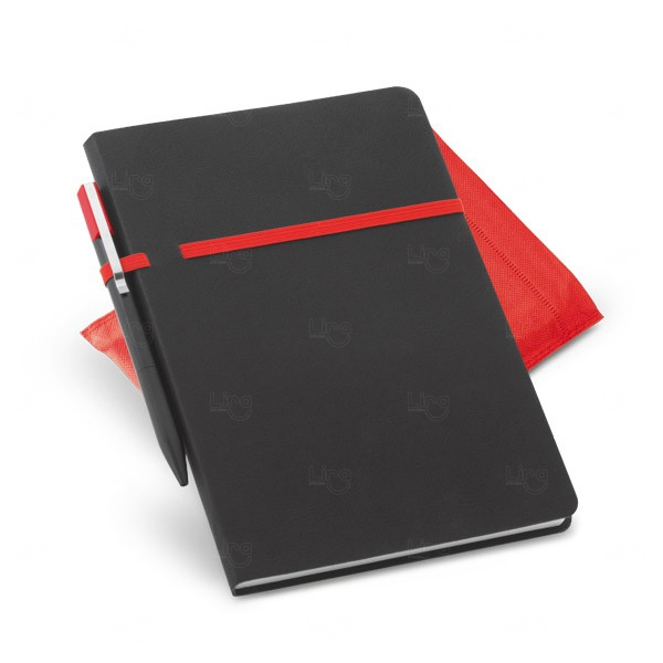 Conjunto Caderno e Caneta Personalizado Vermelho