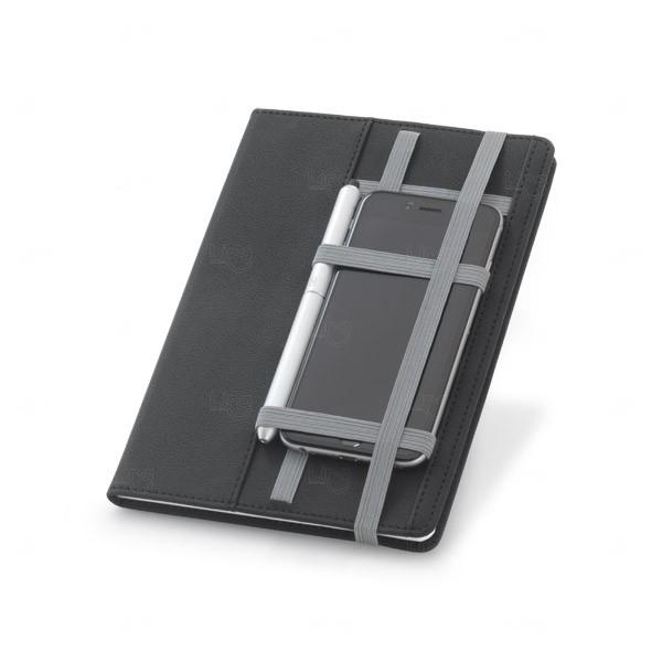 Caderno Personalizado em Couro Sintético Cinza
