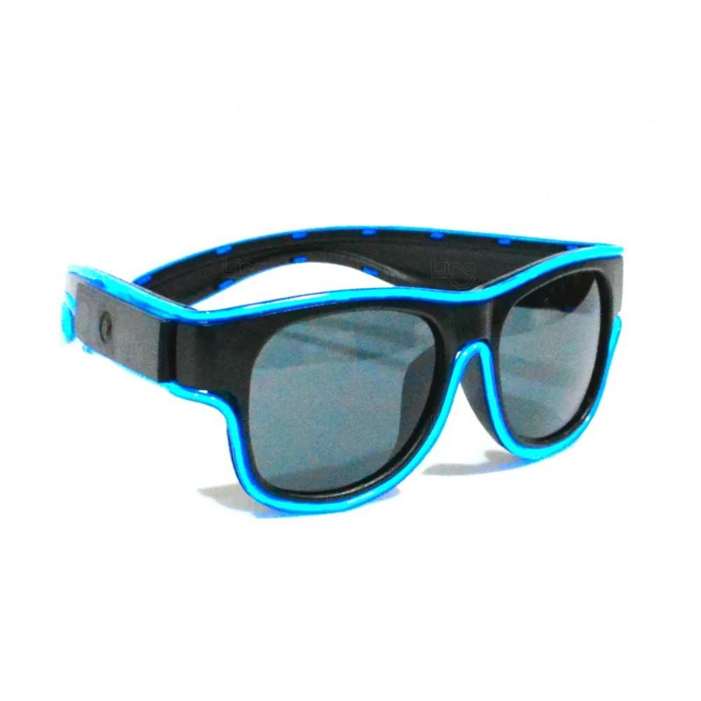Óculos Personalizado Luminoso Neon Azul Claro