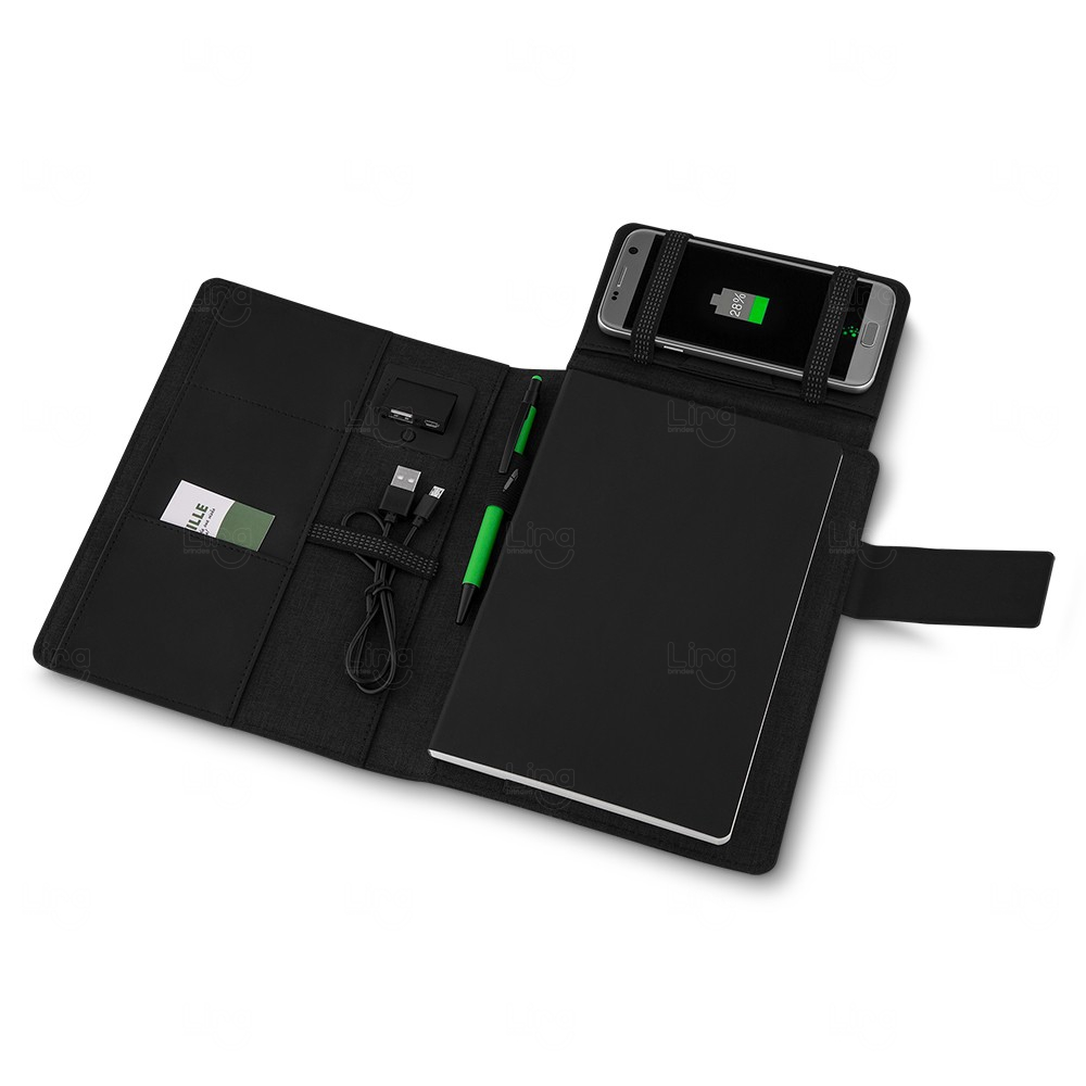 Caderno Power Bank Personalizado - 4000 mAh Preto