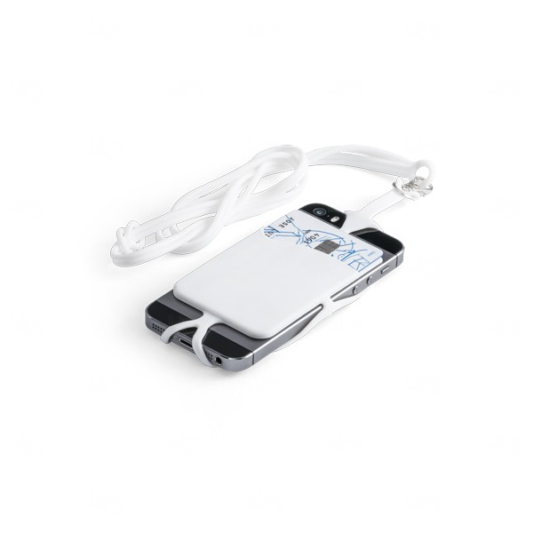 Porta Cartão Celular Personalizado Silicone Branco