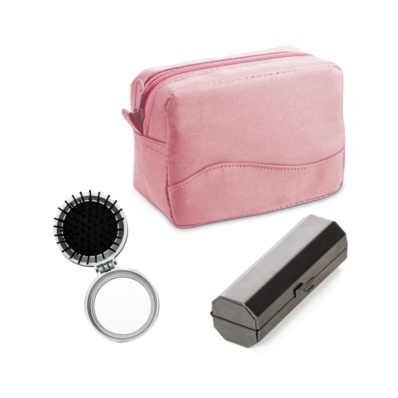 Kit Necessaire C/ Porta Batom Rosa