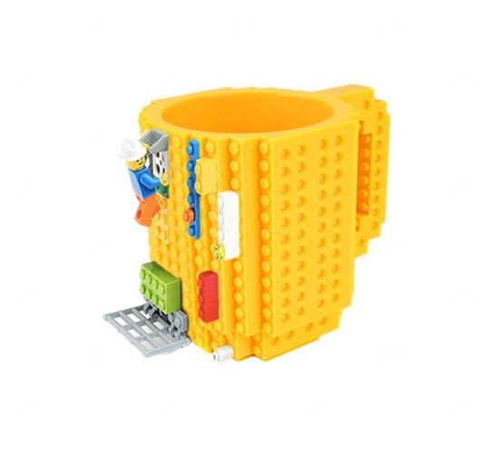 Caneca Personalizada Bloquinho Tipo Lego Amarelo