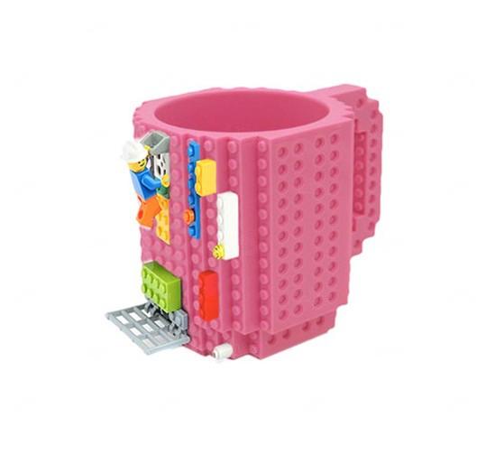 Caneca Personalizada Bloquinho Tipo Lego Rosa