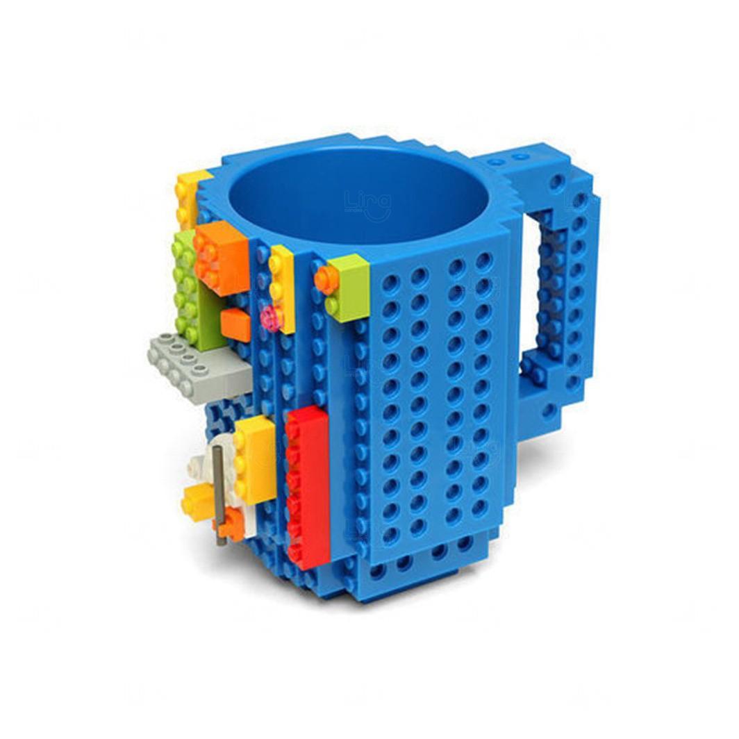 Caneca Personalizada Bloquinho Tipo Lego Azul