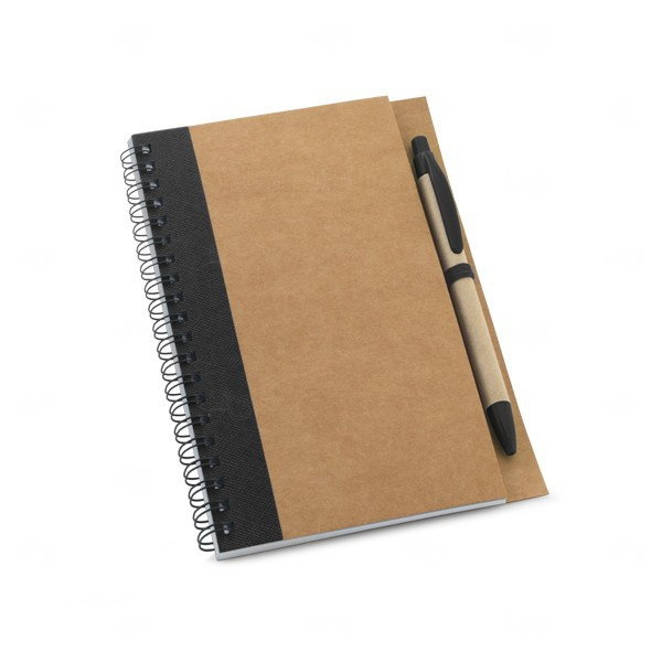 Caderno Ecológico Com Caneta Personalizado Preto