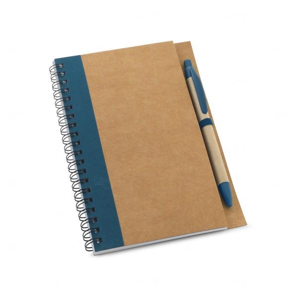 Caderno Ecológico Com Caneta Personalizado Azul