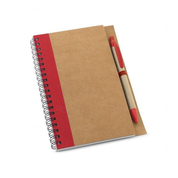 Caderno Ecológico Com Caneta Personalizado Vermelho