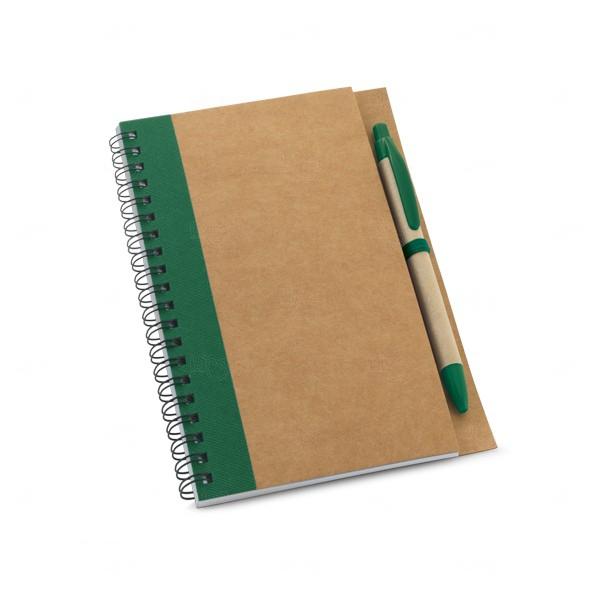 Caderno Ecológico Com Caneta Personalizado Verde