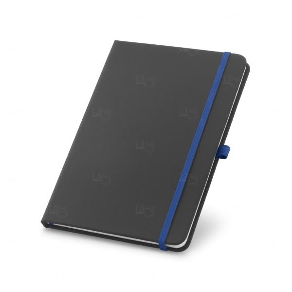 Caderneta Com Elástico Colorido Personalizada Azul