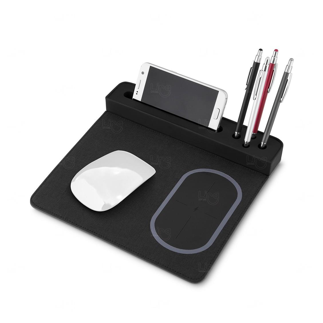 Mouse Pad Personalizado Carregador Sem Fio Preto