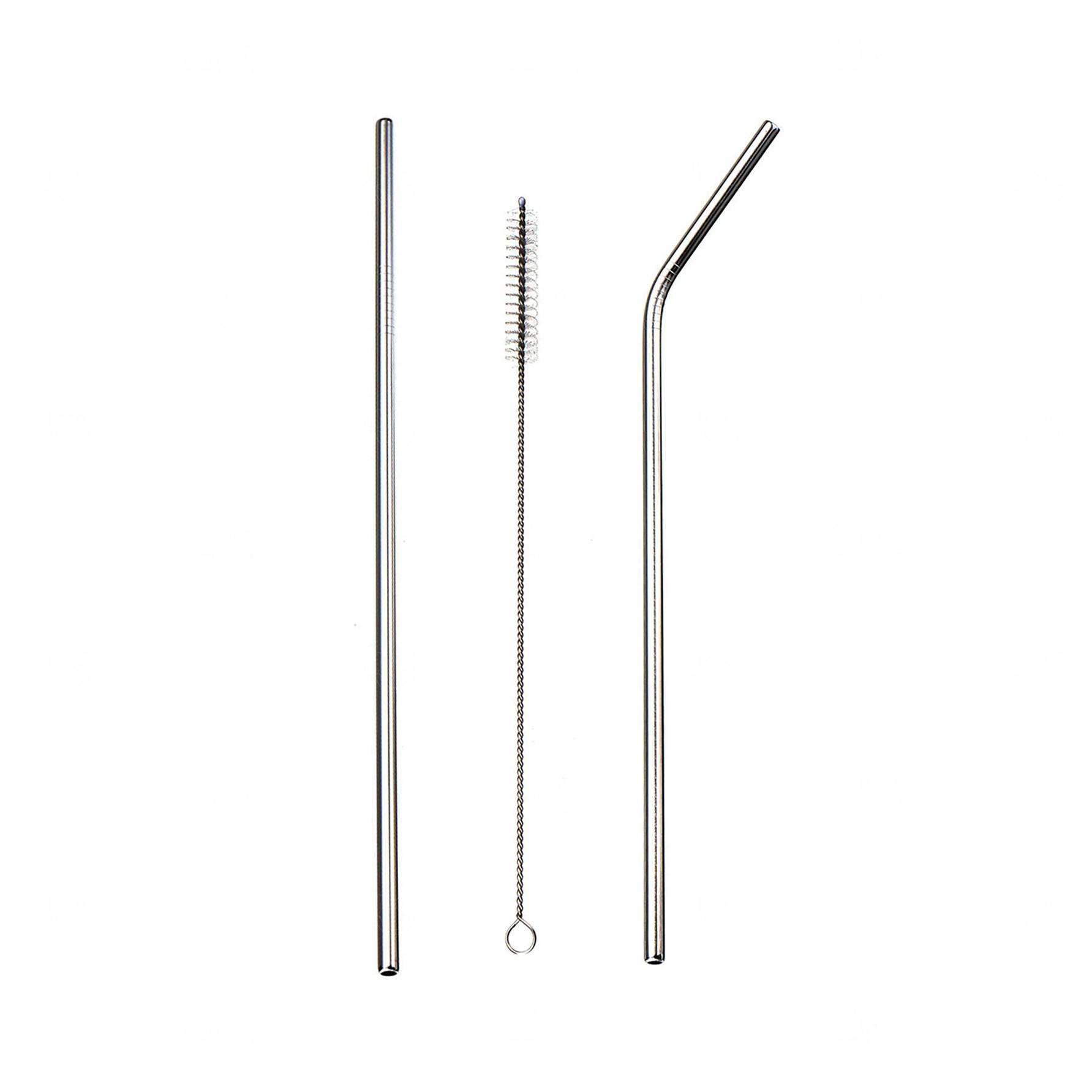 Kit Canudo de Metal Personalizado Prata