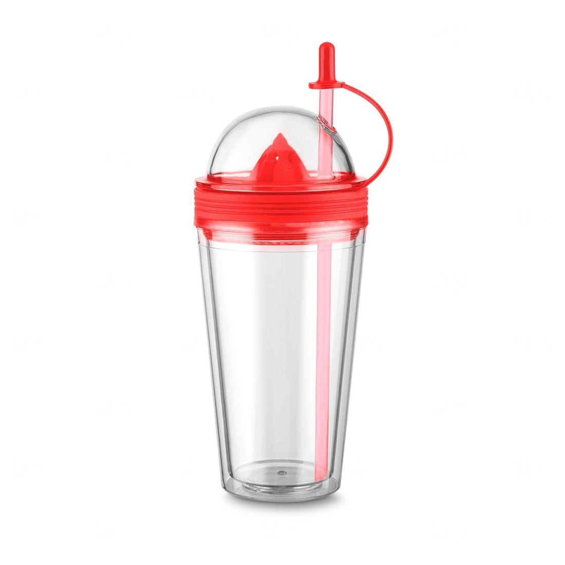 Copo Personalizado  com Espremedor e Canudo - 500 ml Vermelho