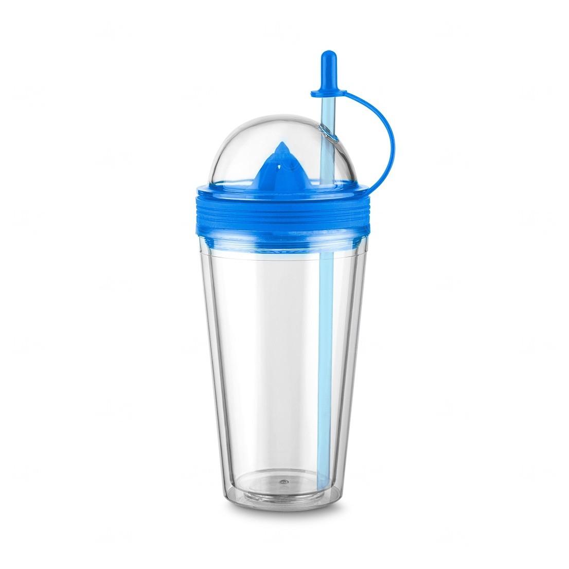 Copo Personalizado  com Espremedor e Canudo - 500 ml Azul