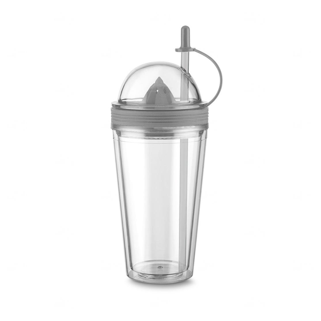 Copo Personalizado  com Espremedor e Canudo - 500 ml Cinza