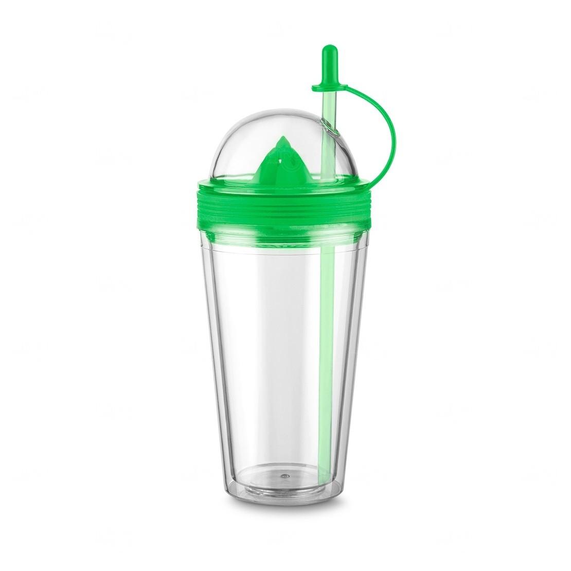 Copo Personalizado  com Espremedor e Canudo - 500 ml Verde