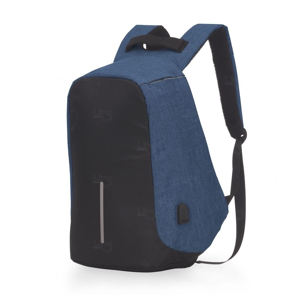 Mochila Personalizada Anti Furto Nylon Azul