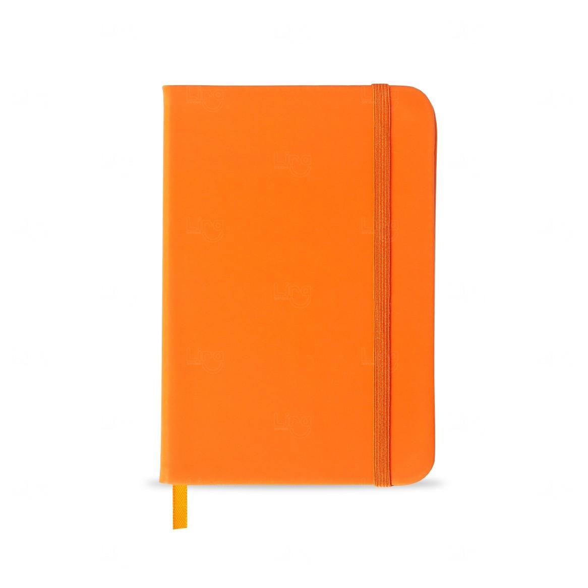 Caderno Tipo Moleskine Personalizado Laranja