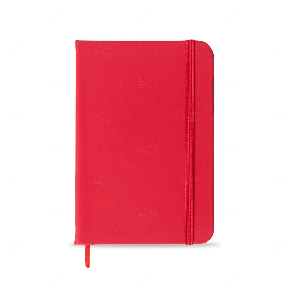 Caderno Tipo Moleskine Personalizado Vermelho