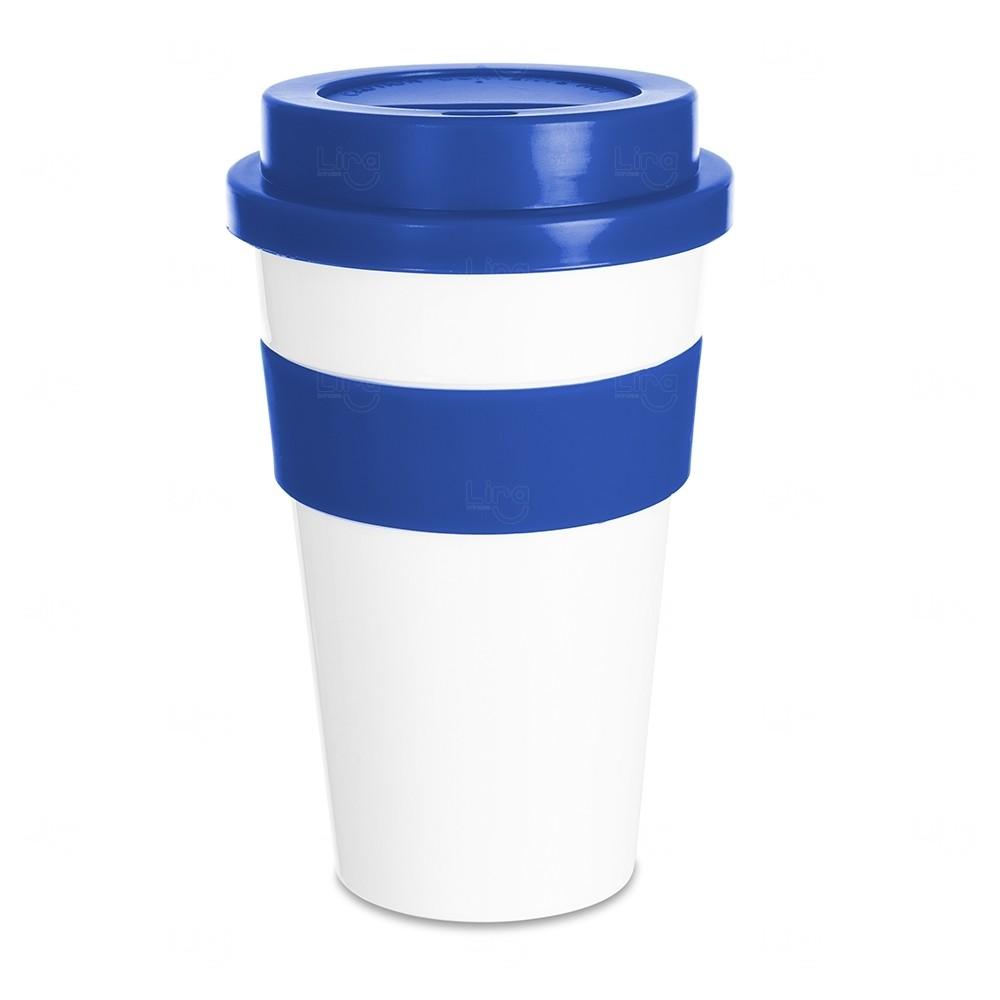 Copo Plástico com Tampa Personalizado - 480 ml Azul