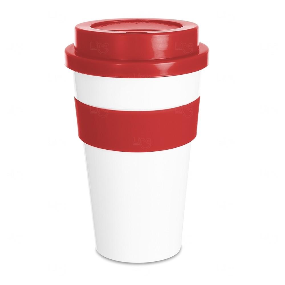 Copo Plástico com Tampa Personalizado - 480 ml Vermelho